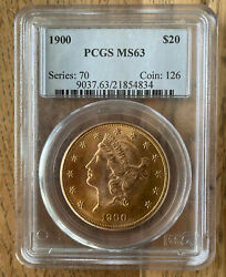 1900 20 Liberty Gold Coin Pcgs Graded Ms63