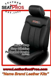 Alea Leather Seat Covers 11-14 Ford F-150 Supercrew Supercab Xlt Black Gray Fx4