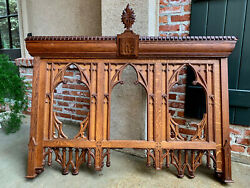 Antique French Carved Oak Altar Wall Hanging Gothic Architectural Church Prayer