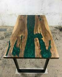 Epoxy River Table Made Of Acacia Wood And Green Resin River Coffee Table Top Art