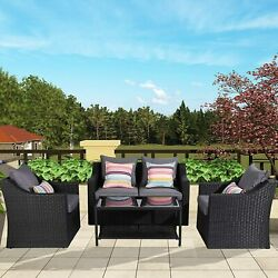 Outdoor Patio Furniture Set 4 Pcs Wicker Conversation Sofa Set With Glass Table