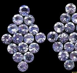 100 Natural Tanzanite 8 Mm Round Faceted Loose Gemstone Certified Lustrous Cut