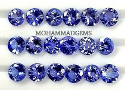 Lustrous Faceted Natural Tanzanite 7x7 Mm Round Faceted Loose Gemstone Certified