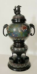 Antique Original 19th Large Chinese Bronze And Cloisonné Vase Koro And Cover Marked