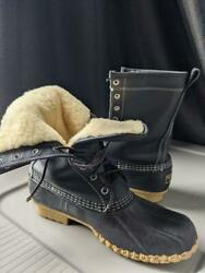 Ll Bean Duck Boots Shearling Lined Black 10 M Womens