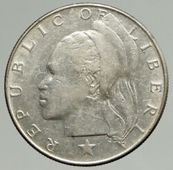 1962 Liberian Silver Liberia African Woman Genuine Vintage Silver Coin I94578