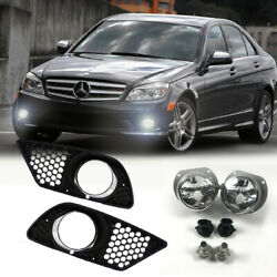1 Set Fog Light With Front Bumper Grilles For Mercedes Benz C-class W204 2008-11