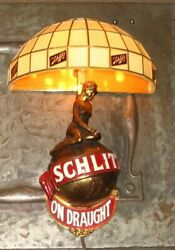 Vintage 1970's Schlitz On Draught Beer Wall Sconce Girl Globe Lamp Sign