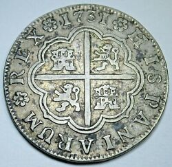 1731 Spanish Silver 2 Reales Antique 1700and039s Colonial Cross Pirate Treasure Coin