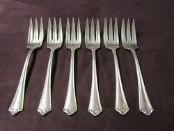 Imperial 6 Pastry Or Dessert Forks 3 Tines Fluted Bowls Pre 1919 No Monograms