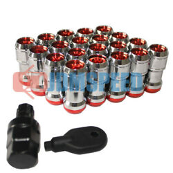 Extended Dust Cap Red Steel Lug Nuts 20 Pcs M12x1.5 Wheel Rims Tuner With Lock