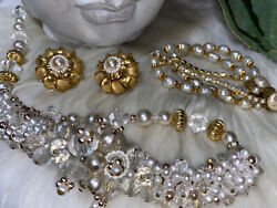 Miriam Haskell Stunning Pearl Necklace Bracelet And Earring Set Mint A3