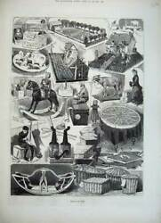Old Antique Print 1882 Home Made Toys Rocking Horse Donkey Dolls Farm Art 19th