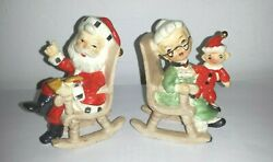 Vintage Lefton's Santa And Mrs.claus In Rocking Chairs Salt N Pepper Shakers