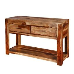 Classic Evergreen Sheesham Wood Modern Frontier Indian Hall Console Table/desk