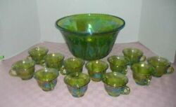 Vtg Indiana Harvest Grape Carnival Glass Green Iridescent Punch Bowl 12 Cups