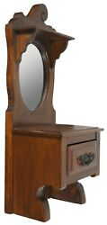 Antique Walnut French Country Provincial Shaving Stand Mirror Vanity Wall Shelf