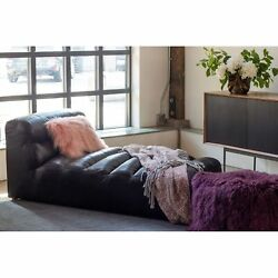 Aurelle Home Ribbed Antique Premium Leather Daybed Black Twin Xl