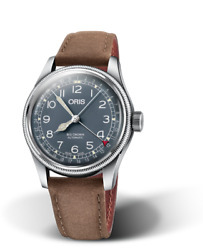 Oris Big Crown Pointer Date 40mm Blue Brown Leather Watch 0175477414065-0752063