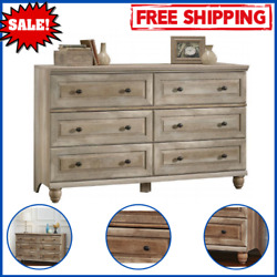 6 Drawer Dresser Wooden Crossmill With Metal Runners And Safety Stops