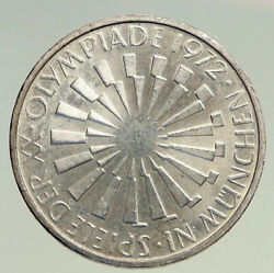 1972f Germany Munich Summer Olympic Games Spiral Prf Silver 10 Mark Coin I94492