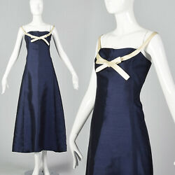 Small 1960s Karl Lagerfeld Jean Patou Dress Formal Blue Silk Evening Gown Vtg