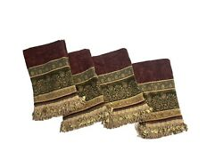 5 Croscill Discontinued Luxury Valances Curtains Chenille Fringe Deep Red And Gold