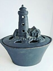 Vtg Cast Iron Steamer Humidifier Lighthouse For Wood Stove 15290