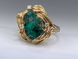 14k Yellow Gold Modernist Raw Rough Chunks Of Emerald Ring With Diamonds Size 6