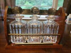 Antique Baccarat Crystal Whiskey Decanter 3 Piece Original - Box, Lock And Key