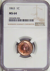 1863 1c Ngc Ms 64 Near Gem Copper-nickel Indian Cent