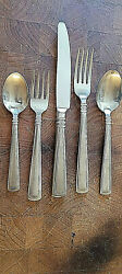 Pristine 6 Place Settings Longaberger Woven Tradition Flatware Stainless