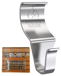 Vinyl Siding Hooks Hanger Heavy Duty Stainless No Hole Needed For Outdoor 18lbs