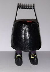 Halloween Paper Mache' Mini 4 Candy Container Witch Body And Legs Dept 56