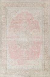 Antique Floral Kirman Hand-knotted Area Rug Pink Oriental Large Carpet 10and039x13and039