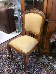 Antique Queen Anne Style Side / Accent Chair With Gold Upholstery Pick Up Only