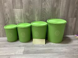 Tupperware Servalier Canister Set - 4 Piece Green Vintage New Old Stock Stickers