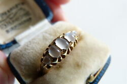 Superb Antique Victorian Heavy 18ct Gold Ring 5 Natural Moonstones 1864 In Box O