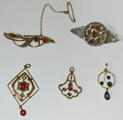 Job Lot Vintage / 9ct Gold Lavaliere Pendants And Silver / 9ct Gold Brooch / Pin
