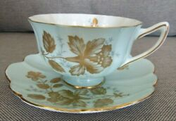 Shelley Golden Rose Peony Teacup And Saucer Set Baby Blue Scalloped Saucer