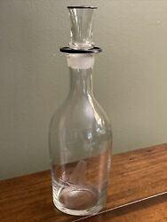 Sterling Rimmed Decanter And Shot Glass Stopper Etched Sailboat