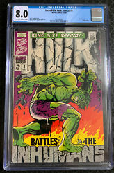 Incredible Hulk Annual 1 Cgc 8.0 Ow-w 1968 Steranko Cover King-size Special