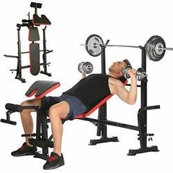 Adjustable Olympic Weight Bench Power Tower Workout Dip Station With Preacher...