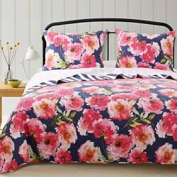 Benjara Bm218850 Cotton Full Size Quilt Set With Floral Print44 Blue And Pink ...