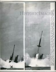 1955 Press Photo Nike Guided Missile Trailing Fire On Wallops Island Virginia