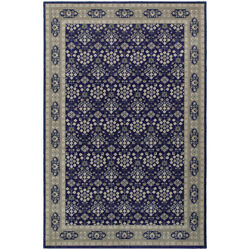 6x9 Blue Dots Circles Vines Lines Bordered Area Rug Sphinx - Aprx 6and039 7 X 9and039 6