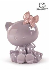 Rare Lladro Decorative Pink Porcelain Figurine Hello Kitty With Butterfly Spain