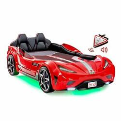 Cilek Twin Size Kids Race Car Bed Frame Remote Controlled Led Headlights Red