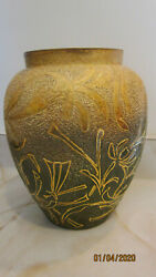Antique Pauline Pottery Edgerton Wi Gold Overlay Designs Covered Urn Vessel