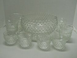 Vintage Duncan Miller Clear Bubble Glass Punch Bowl 12 Cups And Ladle Discontinued